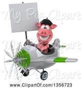 Swine Clipart of 3d French Pig Aviator Pilot Holding a Blank Sign and Flying a White and Green Airplane, on a White Background by Julos
