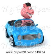 Swine Clipart of 3d French Pig Driving a Blue Convertible Car by Julos