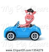 Swine Clipart of 3d French Pig Driving a Blue Convertible Car, on a White Background by Julos