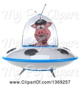 Swine Clipart of 3d French Pig Flying a Ufo, on a White Background by Julos
