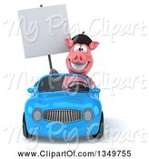 Swine Clipart of 3d French Pig Holding a Blank Sign and Driving a Blue Convertible Car by Julos
