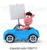 Swine Clipart of 3d French Pig Holding a Blank Sign and Driving a Blue Convertible Car, on a White Background by Julos