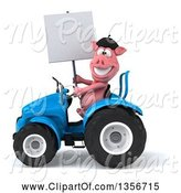 Swine Clipart of 3d French Pig Holding a Blank Sign and Operating a Blue Tractor, on a White Background by Julos