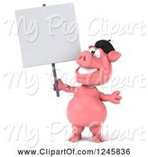 Swine Clipart of 3d French Pig Holding a Blank Sign by Julos