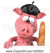 Swine Clipart of 3d French Pig Holding Bread and Looking down at a Sign by Julos