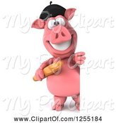 Swine Clipart of 3d French Pig Holding Bread Around a Sign by Julos