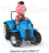 Swine Clipart of 3d French Pig Operating a Blue Tractor, on a White Background by Julos