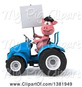Swine Clipart of 3d French Pig Operating a Tractor, on a White Background by Julos