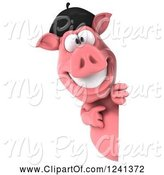 Swine Clipart of 3d French Pig Pointing Around a Sign by Julos