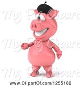 Swine Clipart of 3d French Pig Presenting by Julos