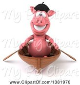 Swine Clipart of 3d French Pig Rowing a Boat, on a White Background by Julos