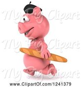 Swine Clipart of 3d French Pig Running with Bread 2 by Julos