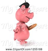 Swine Clipart of 3d French Pig Running with Bread by Julos
