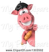 Swine Clipart of 3d French Pig Smiling and Holding Bread Around a Sign by Julos