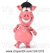 Swine Clipart of 3d French Pig Walking by Julos
