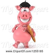 Swine Clipart of 3d French Pig Walking with Bread by Julos
