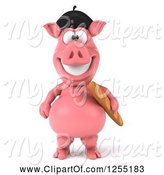 Swine Clipart of 3d French Pig with Bread by Julos