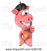 Swine Clipart of 3d French Pig with Bread, Looking Around a Sign by Julos