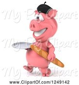 Swine Clipart of 3d French Pig with Bread, Walking with a Plate by Julos