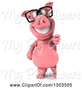 Swine Clipart of 3d Full Length Happy Bespectacled Pig Standing Upright Around a Sign by Julos