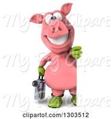 Swine Clipart of 3d Full Length Happy Gardener Pig Holding a Watering Can and Looking Around a Sign by Julos