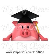 Swine Clipart of 3d Graduation Pig Wearing a Cap and Tassel and Holding a Sign 3 by Julos