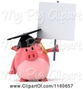 Swine Clipart of 3d Graduation Pig Wearing a Cap and Tassel and Holding a Sign by Julos