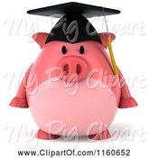 Swine Clipart of 3d Graduation Pig Wearing a Cap and Tassel by Julos