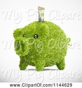Swine Clipart of 3d Green Leafy Piggy Bank with a Dollar Bill by Mopic