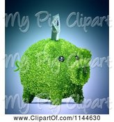 Swine Clipart of 3d Green Leafy Piggy Bank with a Euro Bill by Mopic