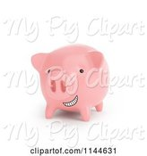 Swine Clipart of 3d Grinning Pink Piggy Bank by Mopic