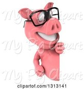 Swine Clipart of 3d Happy Bespectacled Pig Looking Around a Sign by Julos