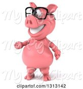 Swine Clipart of 3d Happy Bespectacled Pig Presenting to the Left by Julos