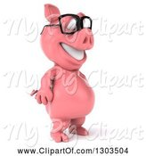 Swine Clipart of 3d Happy Bespectacled Pig Standing Upright and Facing Right by Julos