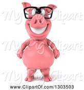 Swine Clipart of 3d Happy Bespectacled Pig Standing Upright by Julos