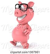 Swine Clipart of 3d Happy Bespectacled Pig Walking to the Left by Julos