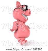 Swine Clipart of 3d Happy Bespectacled Pig Walking to the Right by Julos