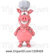 Swine Clipart of 3d Happy Chef Pig by Julos