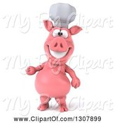 Swine Clipart of 3d Happy Chef Pig Presenting by Julos