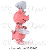 Swine Clipart of 3d Happy Chef Pig Running to the Right and Holding a Plate by Julos