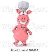 Swine Clipart of 3d Happy Chef Pig Walking by Julos