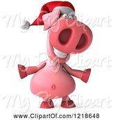 Swine Clipart of 3d Happy Christmas Pookie Pig by Julos