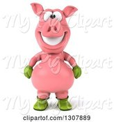Swine Clipart of 3d Happy Gardener Pig by Julos