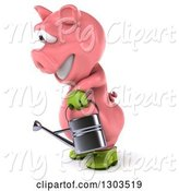 Swine Clipart of 3d Happy Gardener Pig Facing Left and Using a Watering Can by Julos