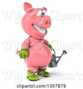 Swine Clipart of 3d Happy Gardener Pig Facing Right and Holding a Watering Can by Julos