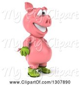Swine Clipart of 3d Happy Gardener Pig Facing Right by Julos