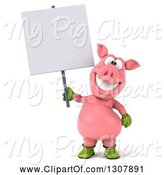 Swine Clipart of 3d Happy Gardener Pig Holding a Blank Sign by Julos