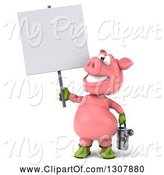 Swine Clipart of 3d Happy Gardener Pig Holding a Watering Can and a Blank Sign by Julos