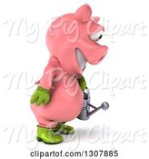 Swine Clipart of 3d Happy Gardener Pig Holding a Watering Can and Facing Right by Julos