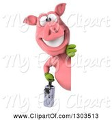 Swine Clipart of 3d Happy Gardener Pig Holding a Watering Can and Looking Around a Sign by Julos